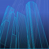 illustration of wire frame view of tall building on abstract background