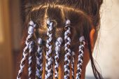 Girl Head With Braids From Kanekalon Material, Creative Hairstyle With Thick Plaits Or Pigtails Also poster
