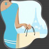 在艾菲尔铁塔上背景上的购物袋的女士的插图