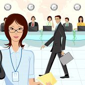illustration of call center executive in office