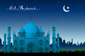 illustration of Taj Mahal in night view on eid mubarak card