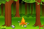 illustration of burning bonfire in forest with tree