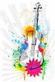 illustration of violin on abstract floral background
