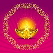 stock photo of deepavali  - illustration of burning diwali  diya on floral background - JPG