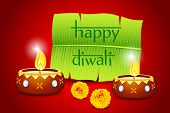 illustration of burning diwali  diya with banana tree for message