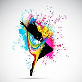 illustration of female dancing on abstract grungy background