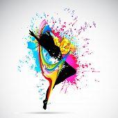 ilustração de dança feminino em abstrato sujo