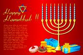 illustration of burning candle in Hanukkah Menorah with gifts