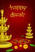 stock photo of rangoli  - illustration of diwali diya stand with rangoli decoration - JPG
