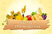 illustration of thanksgiving element with wooden board