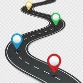 Highway Roadmap With Pins. Car Road Direction, Gps Route Pin Road Trip Navigation And Roads Business poster