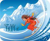 Smiling young women snowboarding