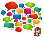 Colored Speech Bubbles and Girl Avatar