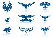 stock photo of spread wings  - Retro Eagles insignias Set - JPG