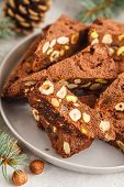 Italian Christmas Dessert Panforte With Nuts, Chocolate And Candied Fruits. Christmas Background, Ch poster