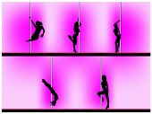Vector eps 8 of 5 pole dancers silhouettes with sexy poses. Background can be easily removed. Each e