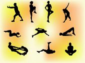 Set of 10 silhouettes of people doing gym exercises, stretching etc.