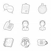 Consultation Icons Set. Outline Illustration Of 9 Consultation Icons For Web poster