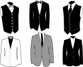 Set of tuxedos in black and white, easily editable.