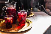 Refreshing Red Sangria Or Compote With Fruits poster