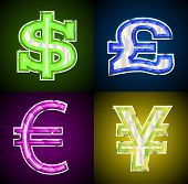Glowing jeweled money symbols.