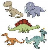 Five cute cartoon dinosaurs all in different layers for easy editing.