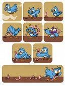 Un pájaro de dibujos animados lindo lucha contra un gusano. Todos los elementos en diferentes capas para poder editarlos fácilmente.