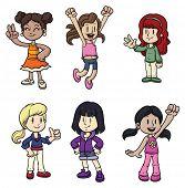 Seis niñas de dibujos animados lindo. Todo en capas separadas para poder editarlos fácilmente.