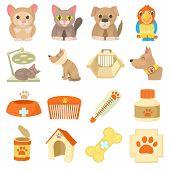Veterinary Clinic Items Icons Set. Cartoon Illustration Of 16 Veterinary Clinic Items Icons For Web poster