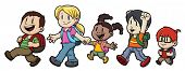 Five cute cartoon kids walking to school. All character on separate layers for easy editing.