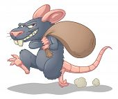 Cartoon rat stealing and running. Simple gradients used. Character and shadow on separate layers for easy editing.