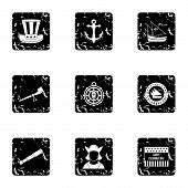 Discovery Of America Icons Set. Grunge Illustration Of 9 Discovery Of America Icons For Web poster
