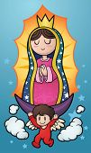 Cartoon illustration of the Virgin of Guadalupe. Vector illustration with simple gradients. Characte