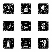 Concert In Circus Icons Set. Grunge Illustration Of 9 Concert In Circus Icons For Web poster