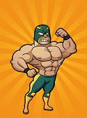 Strong cartoon Mexican wrestler. Vector illustration with simple gradients. Character and background