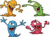 Quatro monstros coloridos de Halloween. Ilustração vetorial com gradientes simples. Tudo em camadas separadas
