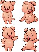image of baby pig  - Four cute cartoon pigs - JPG