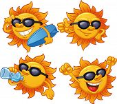 Cartoon sun character ready for summer. Vector illustration with simple gradients. All characters on