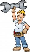 Cartoon construction worker holding a giant wrench. Vector illustration with simple gradients. All i