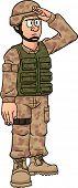 Saudando o soldado dos desenhos animados. Ilustração vetorial com gradientes simples. Tudo em uma única camada.