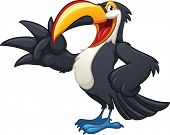 Happy cartoon toucan. Vector illustration with simple gradients. All in a single layer.