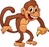 Cute cartoon monkey holding a banana. Vector illustration with simple gradients. All in a single lay