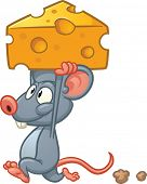 Cute cartoon mouse holding a piece of cheese. Vector illustration with simple gradients. All in a si