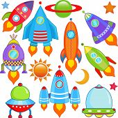 picture of projectile  - A colorful and cute vector collection of spaceship  - JPG