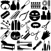 A set of Vector Silhouette - Beauty tools, Spa Icons, Cosmetics