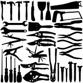 pic of adjustable-spanner  - A set of Vector Silhouette  - JPG