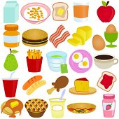 A vector collection of Breakfast / Lunch set : Colorful food isolated on white