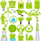 A set of Vector icons : Energy and Environmental Conservation