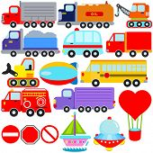 stock photo of tank truck  - A colorful set of cute Vector Icons  - JPG
