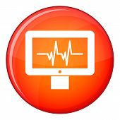 Electrocardiogram Monitor Icon In Red Circle Isolated On White Background Illustration poster